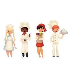 Isolated cartoon children chefs in hats and vector