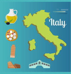 Italy travel map attraction tourist symbols vector
