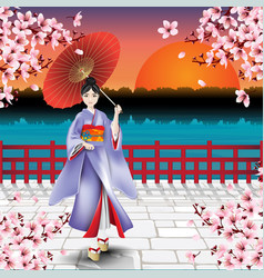 japanese girl and natural scenic view vector image