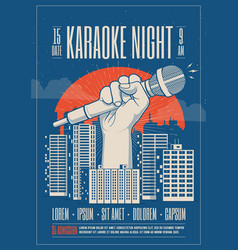 karaoke night party event card flyer poster vector image