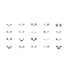 kawaii smile emoticons japanese emoji vector image
