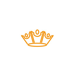 king crown three happy people logo design vector image