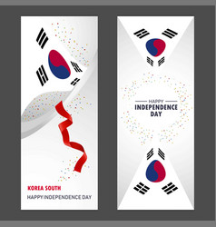Korea south happy independence day confetti vector