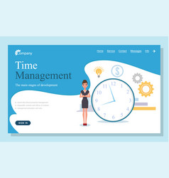 landing page time management web site and vector image