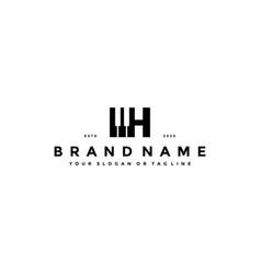 Letter h piano logo design vector