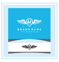 Letter m pin map wing logo design concept vector