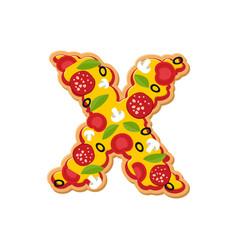 letter x pizza font italian meal alphabet vector image