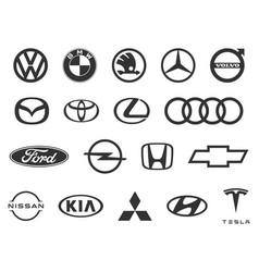 logo cars brand set popular brands car vector image