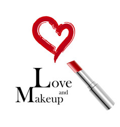 Makeup and love metallic lipstick and red trace vector