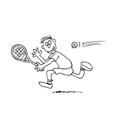 man playing tennis outlined cartoon handrawn vector image