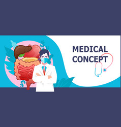 Medical concept banner internal organs banner vector