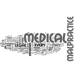 Medical malpractice and legal matters text vector
