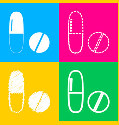 medical pills sign four styles of icon on four vector image