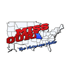 missouri state with us state on american vector image