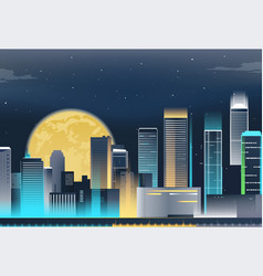 Night city skyline with neon lights modern city vector