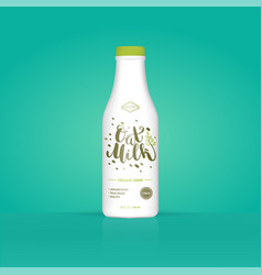 Oat milk oatmeal bottle with colorful background vector