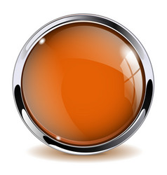 Orange glass button 3d icon with metal frame vector