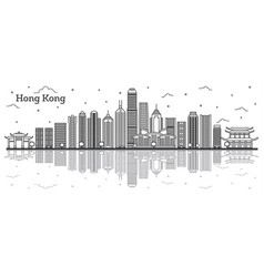 Outline hong kong china city skyline with modern vector
