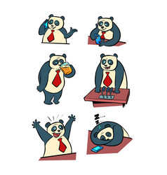 panda businessman life in office collection vector image