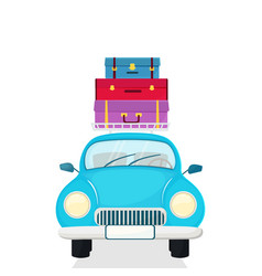 passenger car with suitcases on the roof vector image