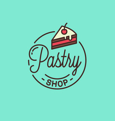 pastry shop logo round linear cake dessert vector image