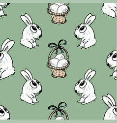 pattern of the easter rabbits and baskets vector image