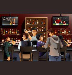 people hanging out in a bar vector image