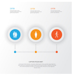 People icons set collection of jogging beloveds vector