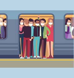 people in masks and subway man and vector image
