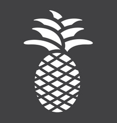 Pineapple solid icon fruit and tropical vector