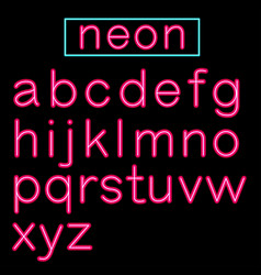pink glowing neon bar alphabet on black background vector image