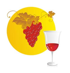 Red wine and grapes vector