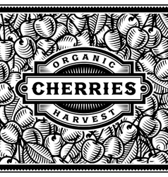 retro cherry harvest label black and white vector image