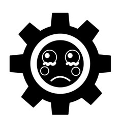 Sad gear kawaii icon image vector