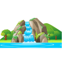 scene with waterfall and river vector image