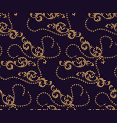 seamless pattern baroque elements and chains vector image