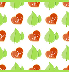 seamless pattern with heart and cardiogram sign vector image