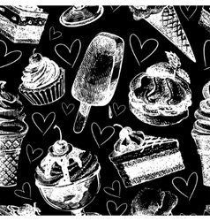 Seamless pattern with ice cream and cakes vector image vector image
