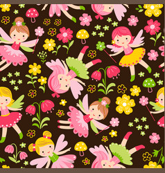 seamless with fairies and flowers on vector image
