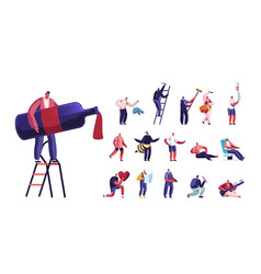 Set of male characters lifestyle tiny man vector