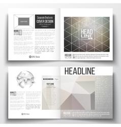 Set of square design brochure template Microchip vector