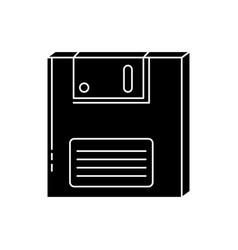 Silhouette floppy nineties retro style vector