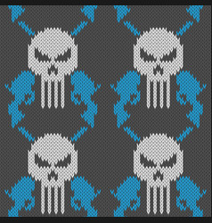Skull and pistols seamless knitted woolen pattern vector