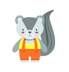 Skunk In Yellow Top And Orange Pants Cute Toy Baby vector