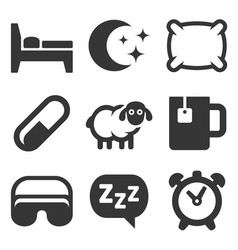 Sleeping icons set on white background vector