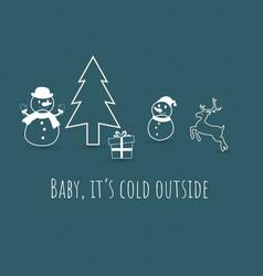 snowman reindeer gift and christmas tree vector image