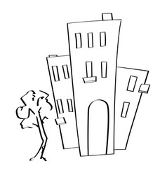 Tall buildings hand drawn doodle vector