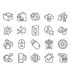 technology icons set included icon as fan engine vector image