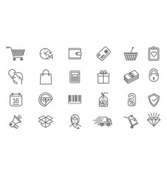 Thin line online store sopping icon set vector