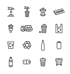 Trash garbage related signs black thin line icon vector